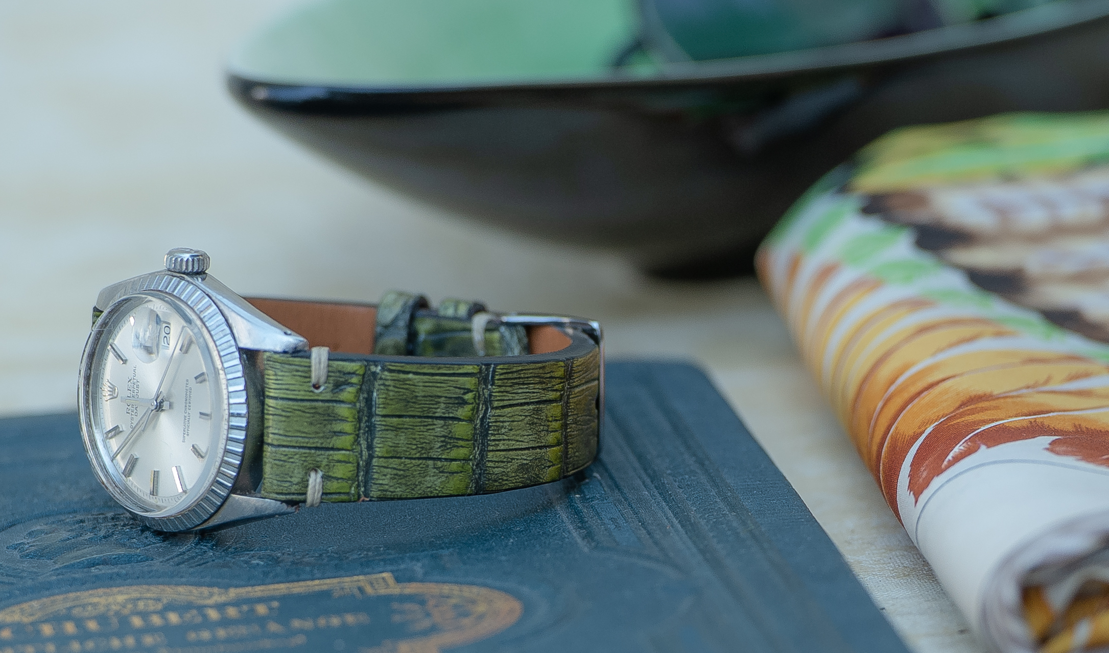 vintage, alligator, green , sand, grey, watchstrap , bestman, bestride